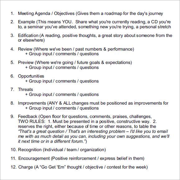 16 Sales Meeting Agenda Templates Sample Templates - Sample Sales Meeting Agenda