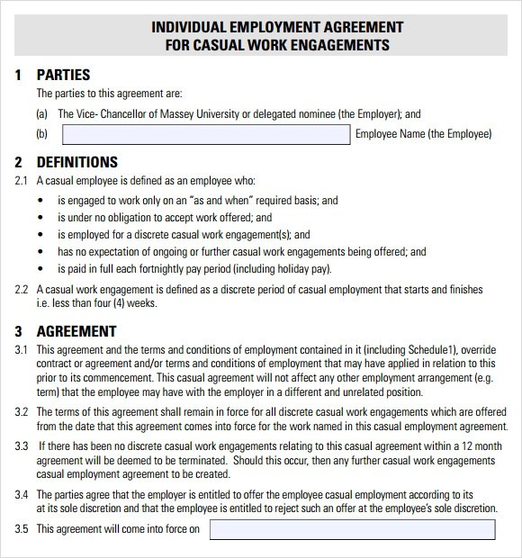 8+ Sample Employment Agreements Sample Templates