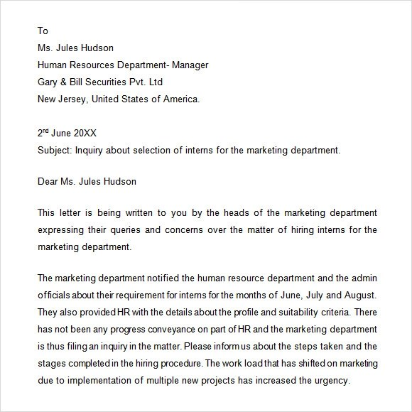Letter of employment inquiry - example of inquiry letter in business