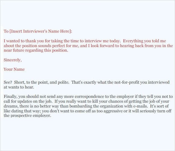 Follow Up Email After Interview Template – Follow Up Email After Interview