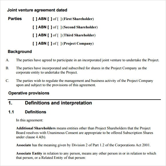 Sample Joint Venture Agreement For Construction  Best Objectives