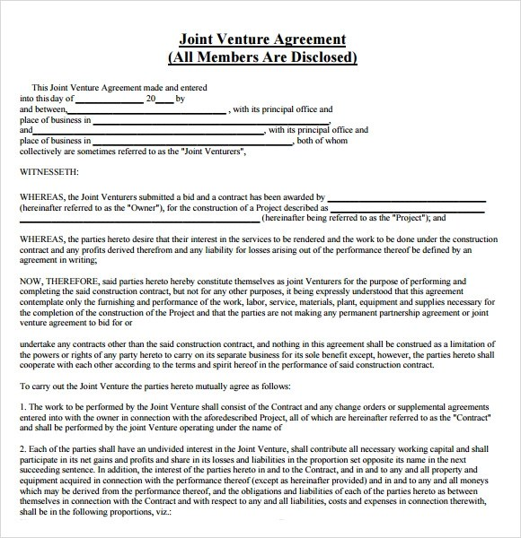 Joint Venture Agreement Template Free - free joint venture agreement