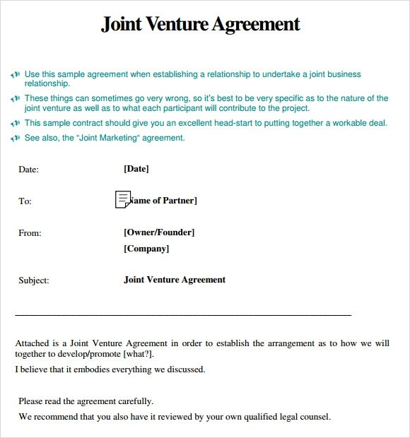 simple joint venture agreement template - joint venture contract template free