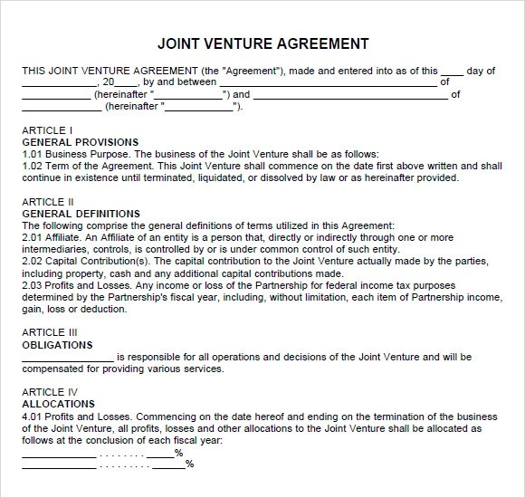 Sample Partnership Agreement - 7+ Documents in PDF, Word - joint partnership agreement template