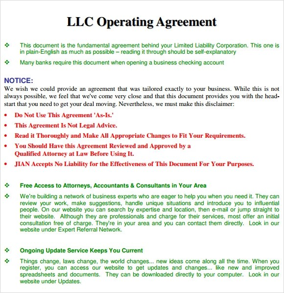 10+ Sample Operating Agreements Sample Templates