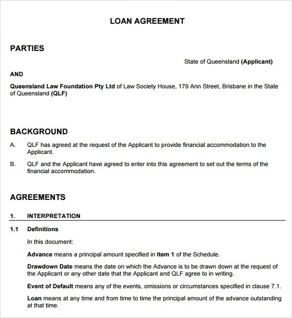 9+ Loan Agreement Samples, Examples, Templates Sample Templates - financial loan agreement template