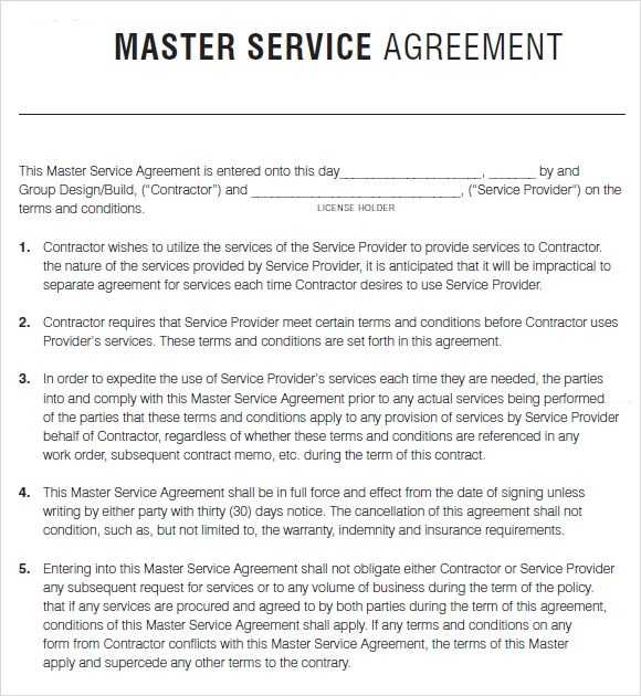 Master Service Agreement Template Consulting  Employee Employer