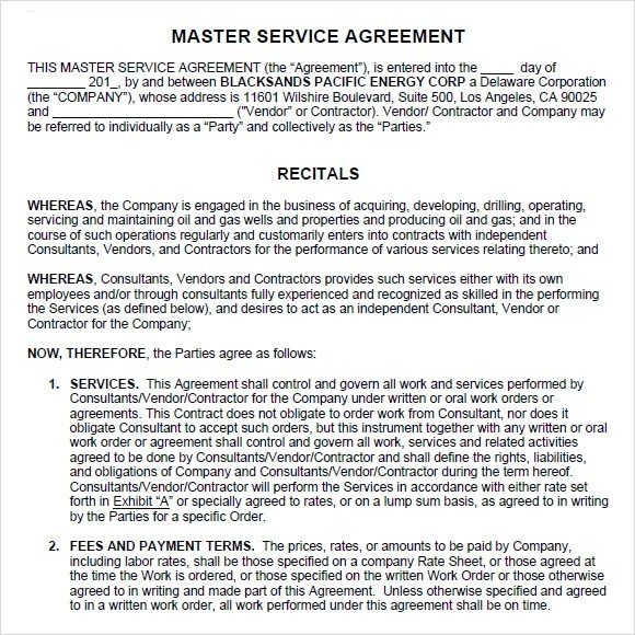 Sample Master Service Agreement - 8+ Documents in PDF, Word - business service contract template