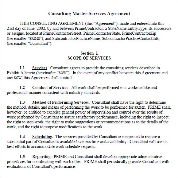 9+ Sample Master Service Agreements Sample Templates