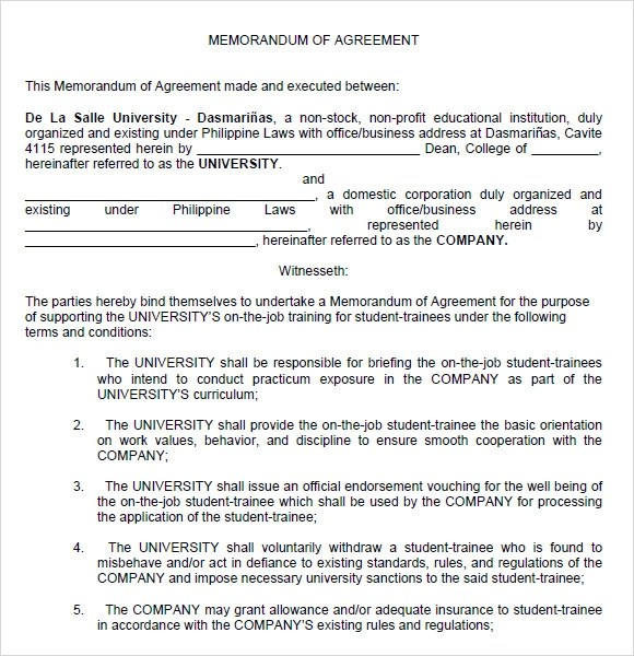 Letter Of Agreement Between Two Parties Sample Letter Sample Memorandum Of Agreement 7 Documents In Pdf Word