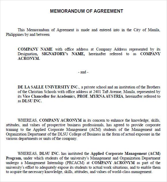 10+ Sample Memorandum of Agreements Sample Templates - heads of agreement template free