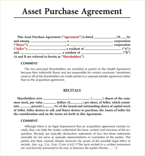 Sample Sale Agreement For Goods – Asset Purchase Agreements