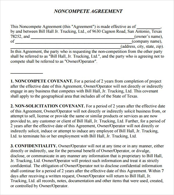 7+ Non Compete Agreement Samples, Examples, Templates Sample Templates