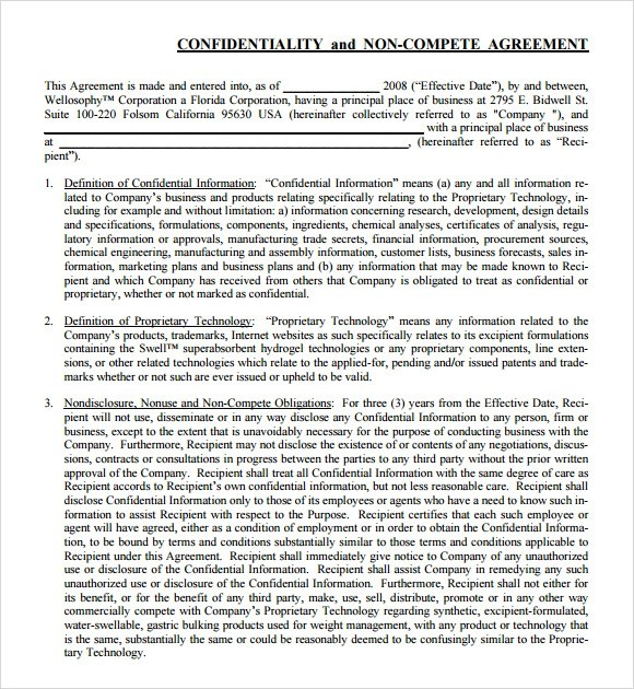 Sample Employee Non Compete Agreement Resume Pdf Download
