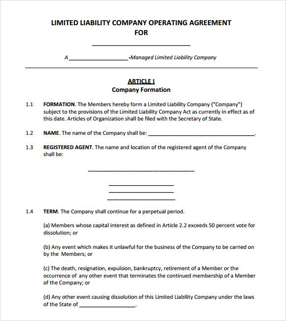 Corporation Operating Agreement Template | Sample CV Resume