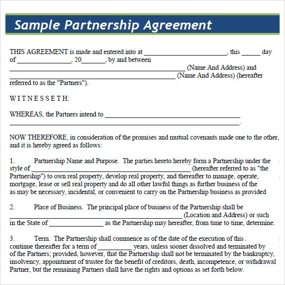 Sample Partnership Agreement - 7+ Documents in PDF, Word - partnership agreement free template