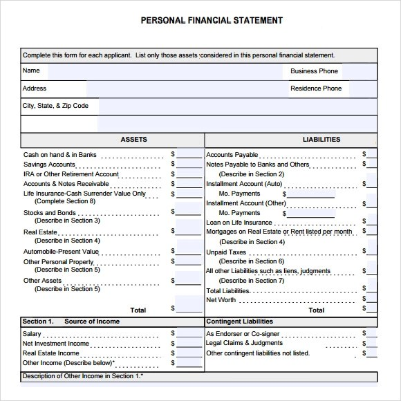 personal financial report template - Militarybralicious - personal financial statement