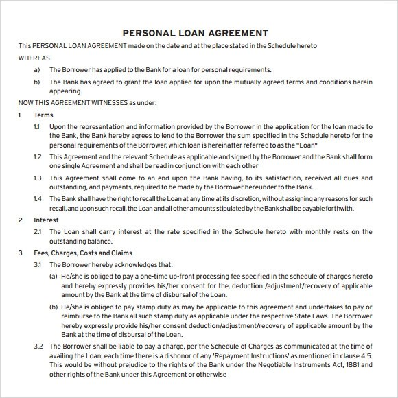 Sample Loan Agreement - 8+ Documents in PDF, Word - personal loan document free