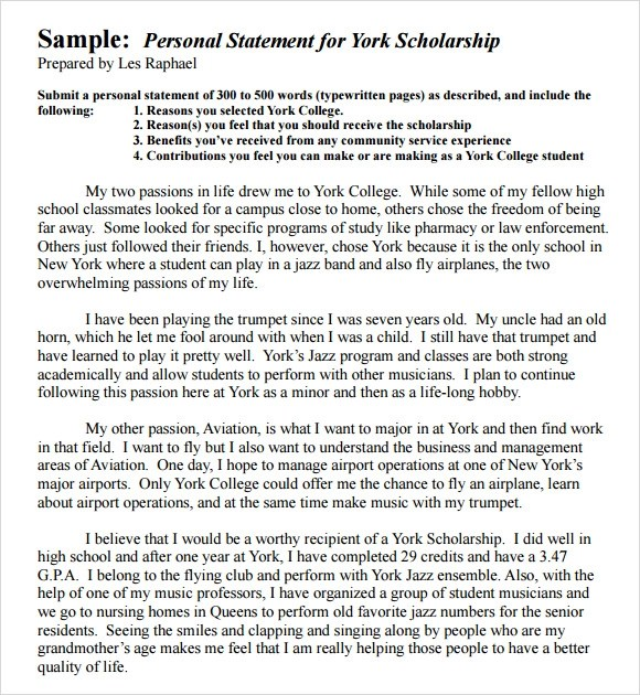 Sample Personal Statement - 9+ Documents in Word, PDF