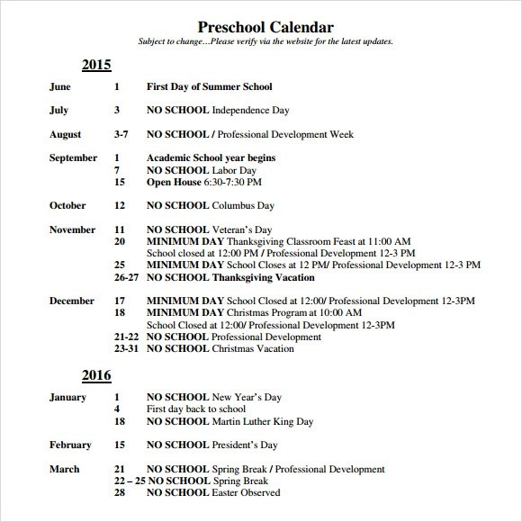 Preschool Calendar 9 Free Samples Examples Format Kindergarten With