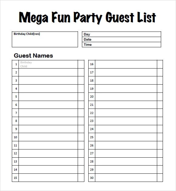 Sample Wedding Guest List Invitation List Template 10 Party Guest - guest list sample