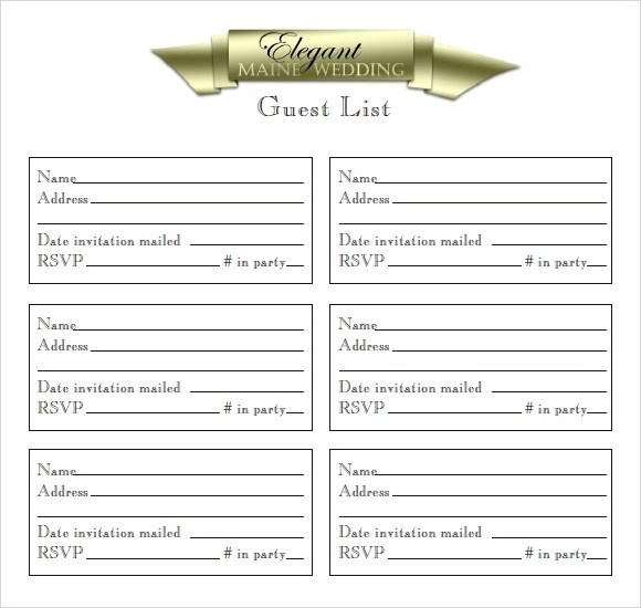 9+ Guest List Samples Sample Templates