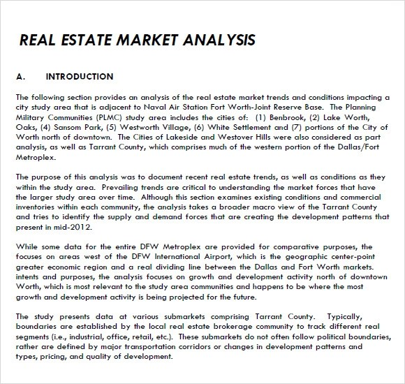 8+ Real Estate Market Analysis Samples Sample Templates - Sample Analysis