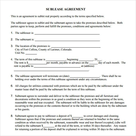 sublet agreement spintel - sublease agreement