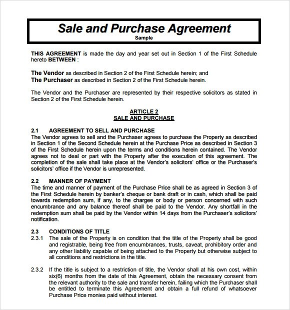 Sample Purchase Agreement - 10+ Examples, Format - sample purchase and sale agreement template