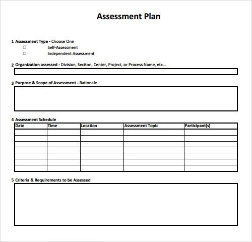 10 Sample Assessment Templates Sample Templates - sample assessment plan