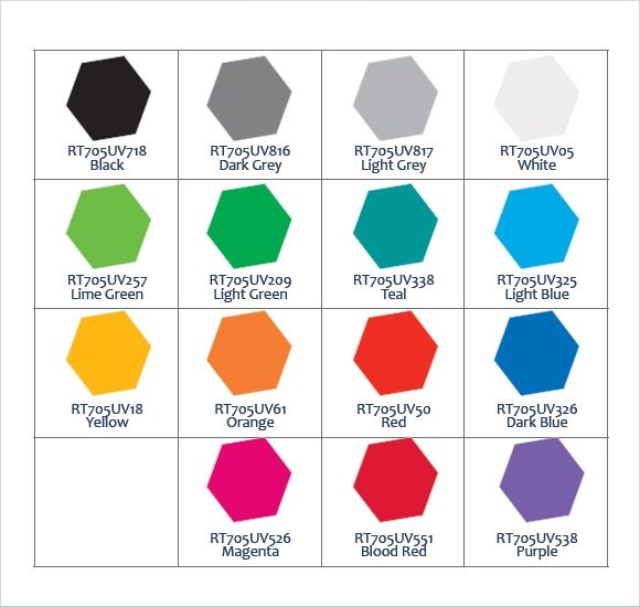 Sample General Color Chart General Paint Color Chart Template - General Color Chart Template