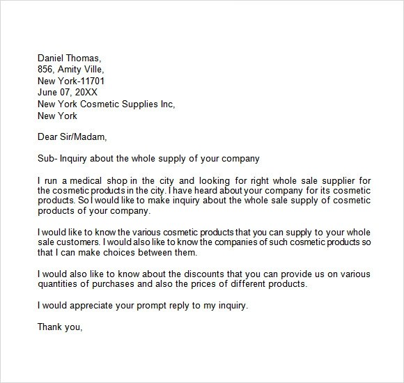 Inquiry Letter Format Sample Image collections - letter format - example inquiry letter