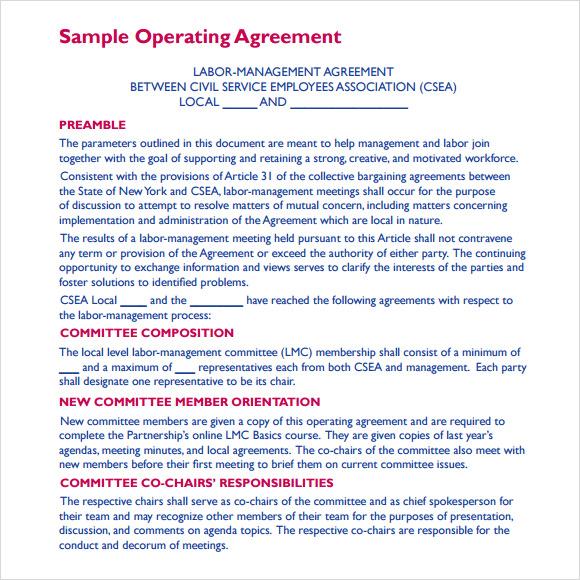 sample of operating agreement for llc