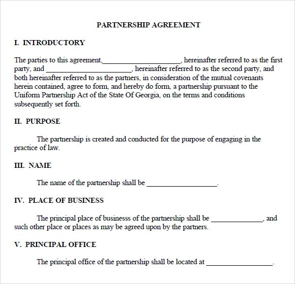 Partnership Agreement Template Quality  Quarterly Employee