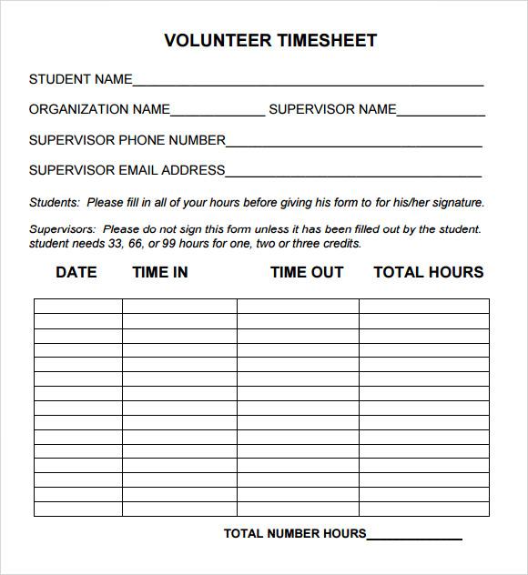 volunteer spreadsheet