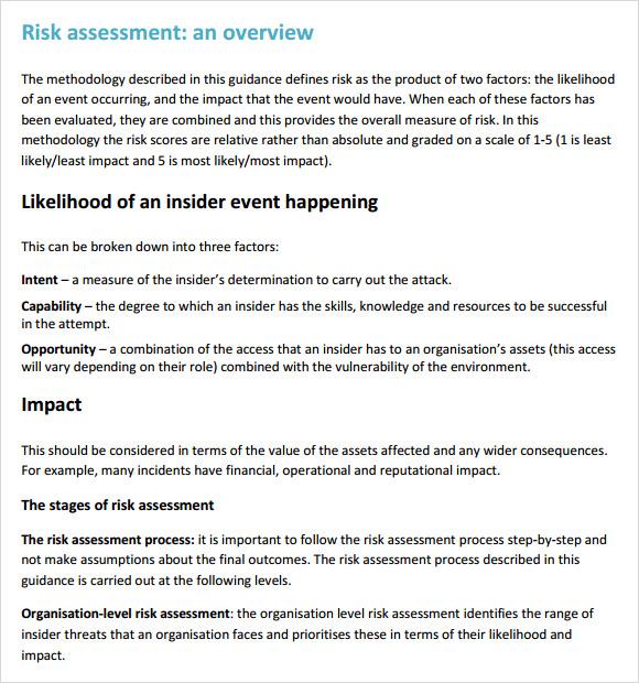 7+ Security Risk Assessment Samples Sample Templates