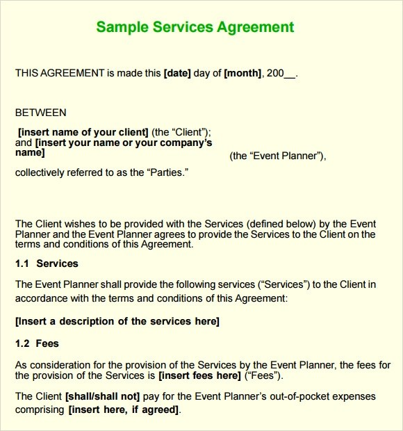 Sample Service Agreement - 7+ Example, Format - contract of service format