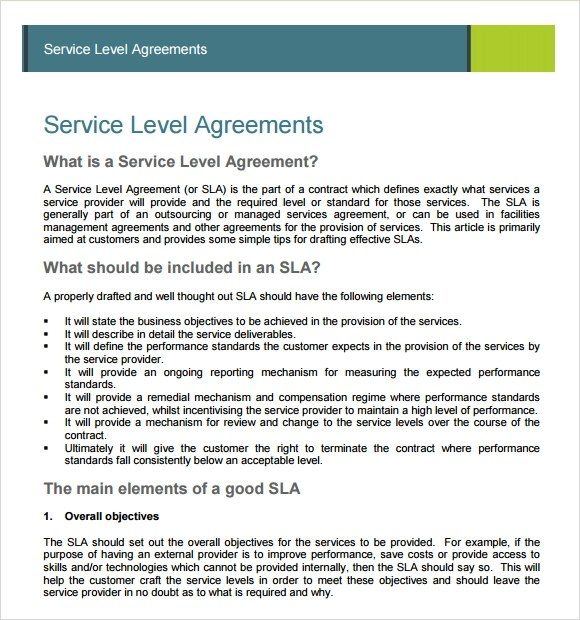 Sample Service Agreement - 7+ Example, Format - service level agreement template