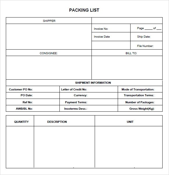 packing list template pdf - Romeolandinez