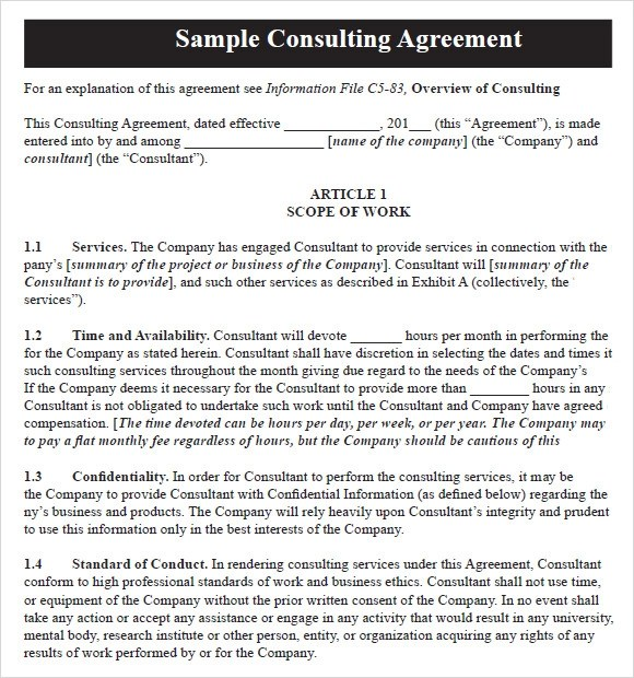 Sample Consulting Agreement - 9+ Documents In PDF, Word - consulting retainer agreement