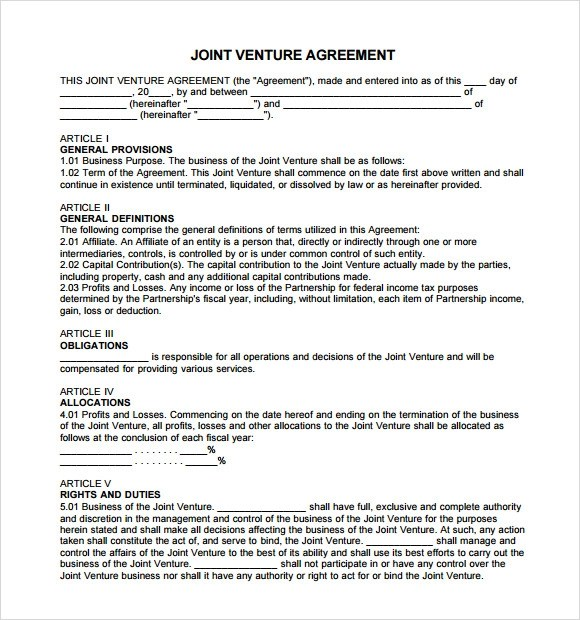 Sample Joint Venture Agreement - 10+ Documents In PDF, Word - joint partnership agreement template