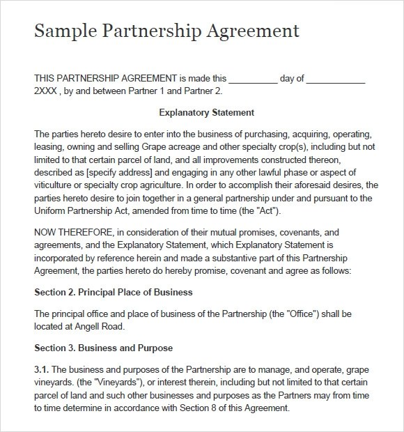 Joint Venture Agreement Template – Simple Joint Venture Agreement Sample