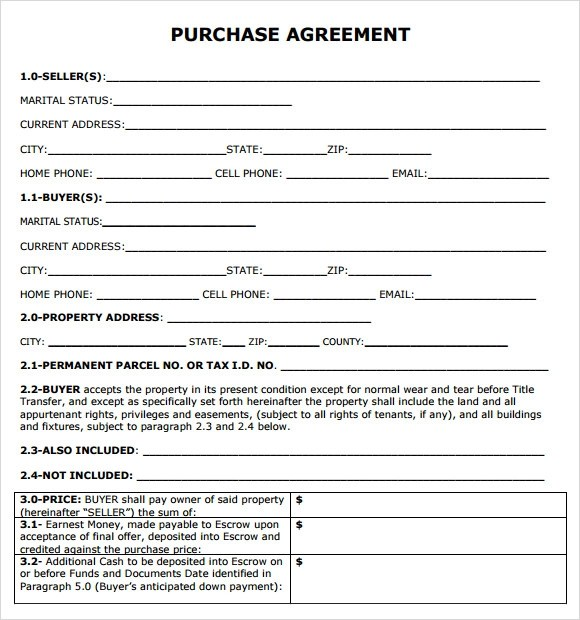 simple purchase agreement template - 28 images - california real