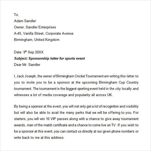 event sponsorship letter - Brucebrianwilliams - Format Of A Sponsorship Letter