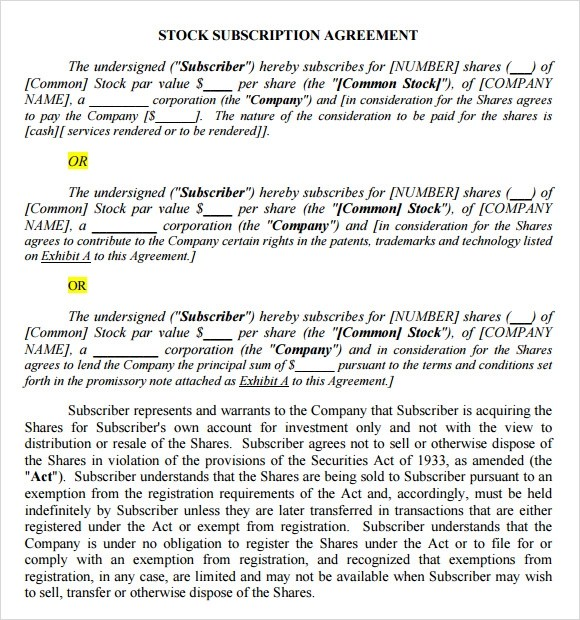 Sample Subscription Agreement Sample Sublease Agreement Form - sample stock purchase agreement example