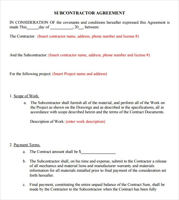 Sample Subcontractor Agreement u2013 7+ Example, Format - subcontractor agreement template