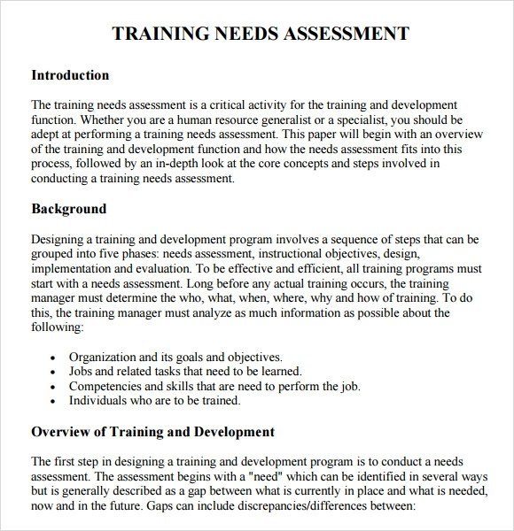 Sample training session needs assessment Research paper Sample
