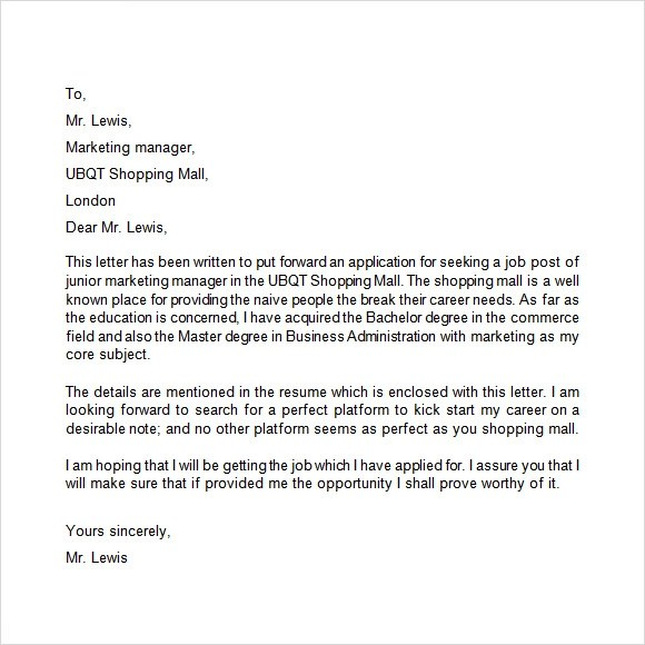 10 Application Letters \u2013 Free Samples , Examples  Format Sample