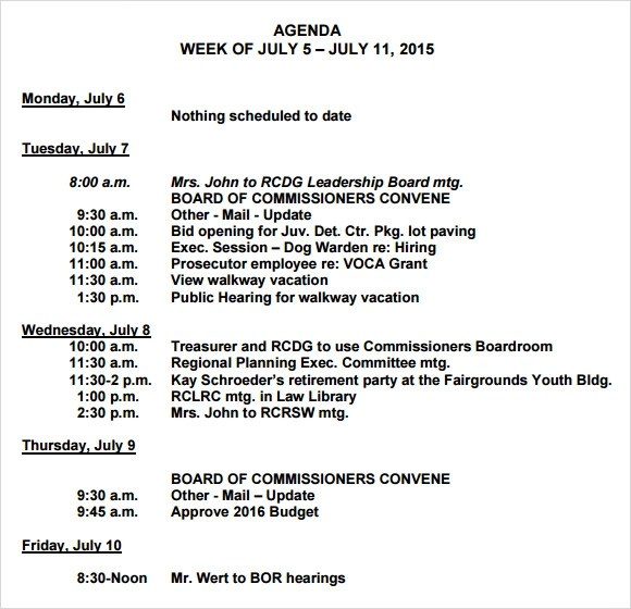 Sample Agreement For Investment In Business – Sample Weekly Agenda