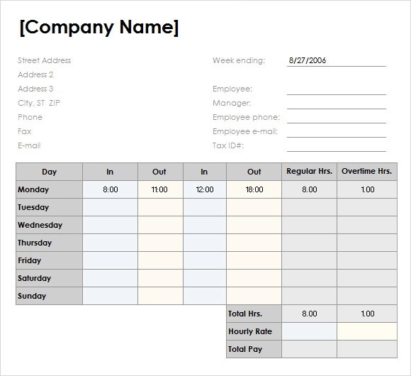 weekly timesheet template free download - Acurlunamedia